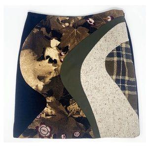 Moschino Couture angora silk wool leaf mini skirt